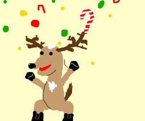 A reindeer throwing up candy