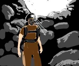 Explorer wearing a head lamp