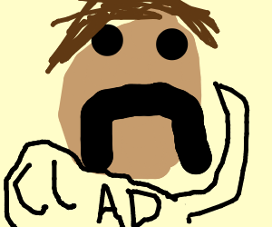 Lenny face with handlebar mustache saying clad