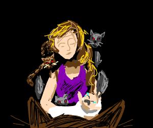 cat lady prepares to sacrifice baby