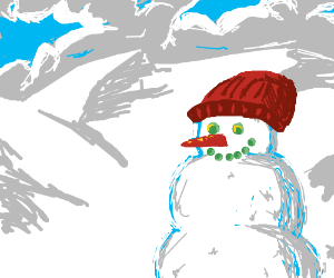 Happy Snowman in a beautiful snowscape