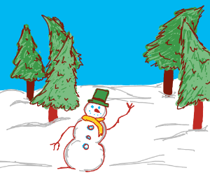 snowman waves at you