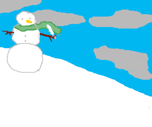 Snowman with a knife