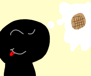 man thinks about waffles