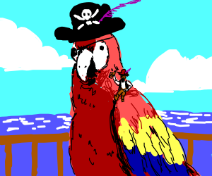 large parrot with tiny pirate on his shoulder