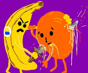 Banana stabbing an orange