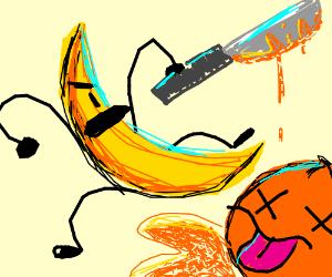 A ripe banana murdering an innocent orange