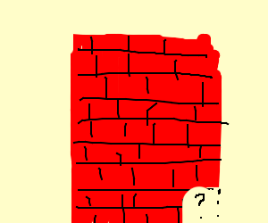 Brick wall with a corner missing