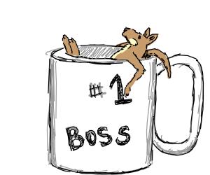 small kangaroo bathing in #1 boss mug