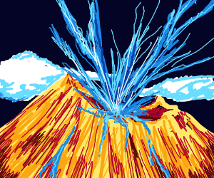 Volcano has blue lava