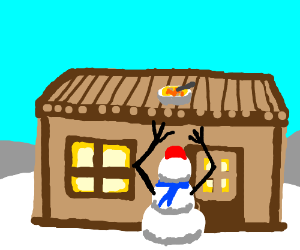 Snowman is determined to get his soup