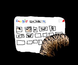Boy searches anime on Google