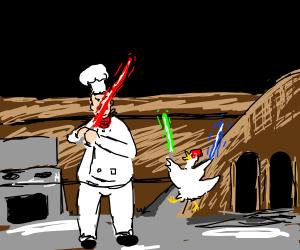 Chef fights a chicken