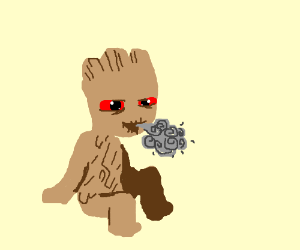 High Baby Groot Drawing By Friskycandy Dog Drawception