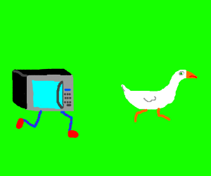 Duck Chased By Microwave With Legs