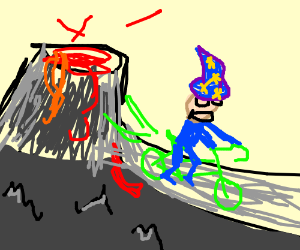 Wizard cycling away from active volcano