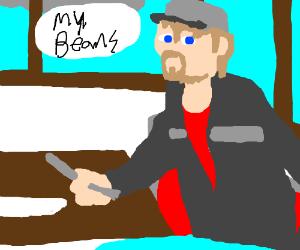 Truckdriver having beans at a roadside cafe