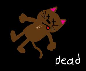 dead furry brown cat