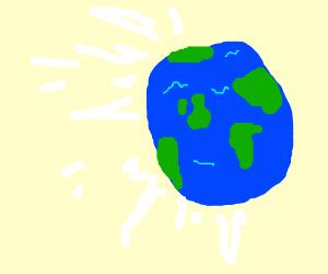 world emitting white stuffs