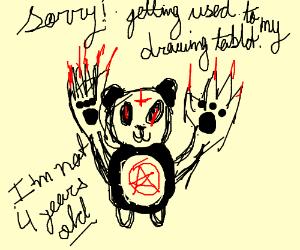 demonic panda with claw hands