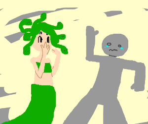 Medusa accidentally stones person in shop