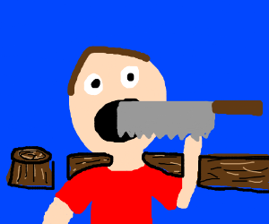 People shoving saws into their mouths