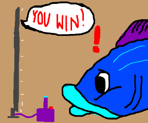 A fish is surprised by winning a videogame