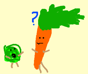carrot is confused at green scribble guy