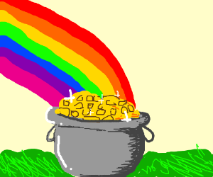 pot of gold at end of a rainbow