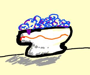 bowl of purpleberries.
