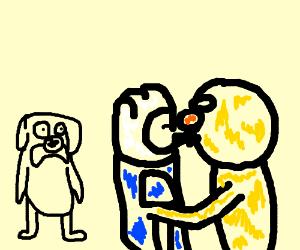 jake is surprised finn is kissing Yellmo
