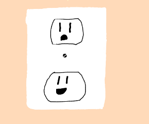 outlets look like sad faces.