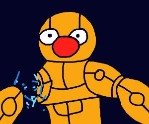 Yellmo-bot loses an arm