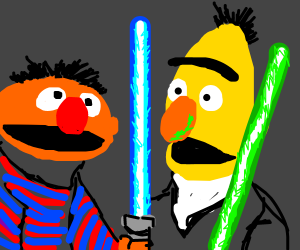 Ernie and Bert Fight with Lightsabers