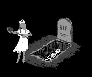 Nurse in graveyard digging up corpses