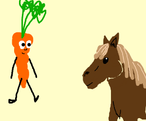 Carrot sees horse.