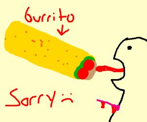 Man eating long burrito with ketchupy nipples