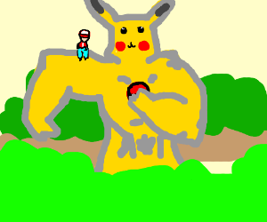 Buff Pikachu towers over the treetops