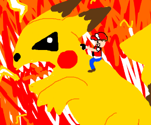 Red (Trainer) riding on Titan sized Pikachu