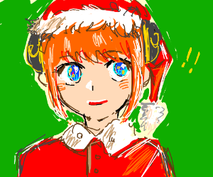 Cute Anime Girl in Santa Hat