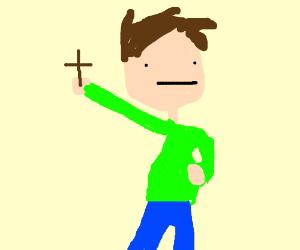 guy light green shirt blue pants holding cross