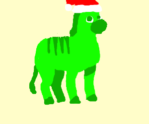 Green and red zebra with a Santa hat
