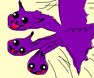 three headed purple dragon pokemon flying drawing by