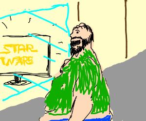 A fat homeless man watching star wars