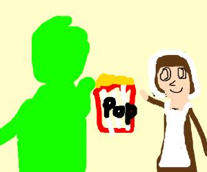 Green and sexy pilgrim eating popcorn