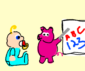 Pig teaches baby letters and numbers