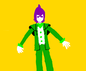 purple man in green suit