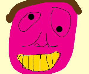 Pink ugly face with gold teeth