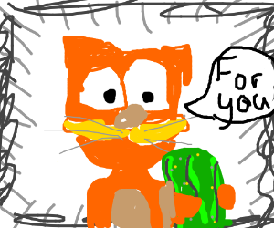 Garfield offers you a pickle