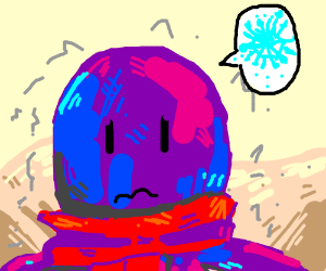octopus with scarf in  desert says IT so cold